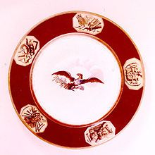 This bright red pattern from James Monroe I love because although it does have the traditional eagle motif, there's a Chinoiserie feel to it that's totally modern. White House Washington Dc, James Monroe, Presidential History, China Plates, American Presidents, China Patterns, Fine China, China Porcelain, Chinoiserie