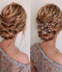 Good Looking Hair Styles Floral Wedding Hair, Bridal Hair Flowers, Bridal Hair Vine, Wedding Hair Pieces, Bridal Hairpiece, Wedding Gold, Wedding Updo, Flower Hair, Wedding Makeup