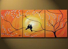 Orange Abstract Painting Love Birds Sitting on Tree, HUGE Art, Acrylic on canvas ORIGINAL, Contemporary Earthy Bird, Gold Orange