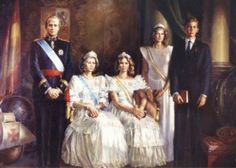 Portrait of the Spanish Royal Family. The Infanta Elena has never worn the Mellerio Shell tiara in public, but she is wearing it in this portrait.