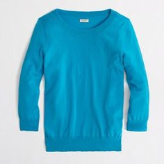 J. Crew Pagoda Blue Charley Sweater Beautiful spring color! Great paired over denim.  Cotton. {factory.} Crewneck. True to size. Retired color. J. Crew Tops