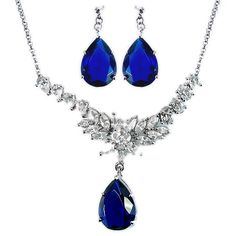 Rizilia Fashion Pear Cut Blue Sapphire 18K White Gold Plated Jewelry Set Earrings Necklace For Dress (bestseller)