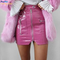 9c566767e8e92 FREE DHL SHIPPING Pattern Leather Pink Zip Skirt