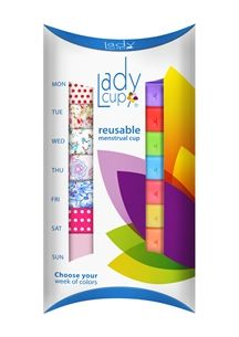 Choose your week of colours: 7 LadyCup menstrual cups and 7 cotton pouches