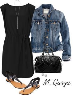 Little black dress, jean jacket and matching black accessories... such a cute outfit!