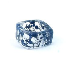 Blue Resin Ring. Botanical Pressed Flower Resin Band.  Square Band Ring. Handmade Resin Jewelry with Real Flowers - Babys Breath via Etsy