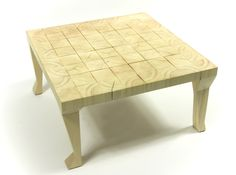 Coffee table on valgus legs, table's top made of 64 pieces of wood that began to react and subtle breaks are result. The effect is sensational! You can play chess on it… Table's legs are different, each is cut in a different way. Table Legs, Vanity Bench, Sweet Home, Living Room, Chess, Wood, Play, Furniture, Coffee
