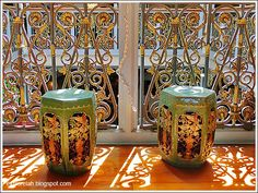 Peranakan porcelain stools or are used sometimes as stands for potted indoor plants.