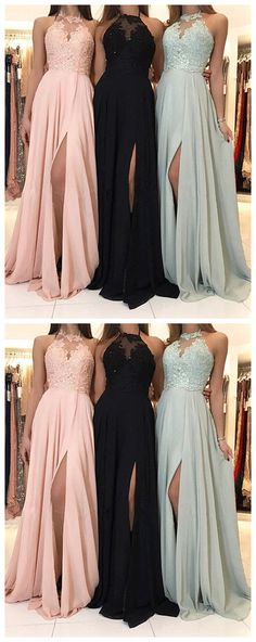 #modeldressy #pinkprom #promdress #lace #bluepromdress #blackpromdress #mintgreenprom Stylish chiffon lace long prom dress, formal dress evening dress 8021