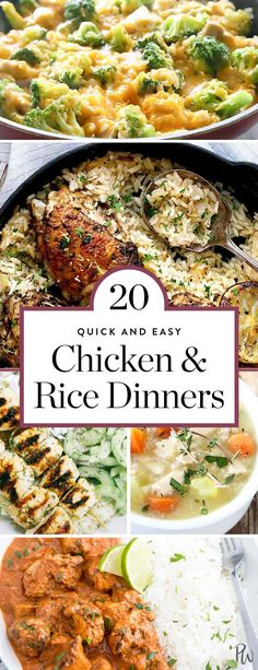 Meet the duo that always delivers: chicken and rice. They're versatile, they're hearty, they're healthy and, if by some miracle there actually are leftovers, they're usually even better than the original meal. Get 20 of the best chicken and rice dinner re Easy Roast Chicken, Easy Chicken And Rice, Super Healthy Recipes, Healthy Salad Recipes, Paella, Rice Recipes For Dinner, Best Chicken Recipes, Recipe Chicken, Food For Thought