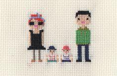 Custom New Baby Cross Stitch Portrait (Framed). $40.00, via Etsy, Scarlet Pyjamas