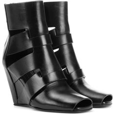 Rick Owens Leather Ankle Boots (€1.225) ❤ liked on Polyvore featuring shoes, boots, ankle booties, black, high-heel, black boots, ankle boots, short black boots, black leather bootie and leather ankle boots
