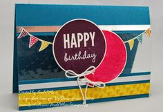 http://www.nicolejuliewilson.blogspot.com.au/ The Artful Stampers Blog Hop Challenge 30 Island Indigo, Melon Mambo, Daffodil Delight, Blackberry Bliss using Celebrate Today Stampset
