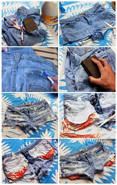 DIY Distressed Fun Pocket Cutoffs.  There is a reason I kept those totes of old jeans!