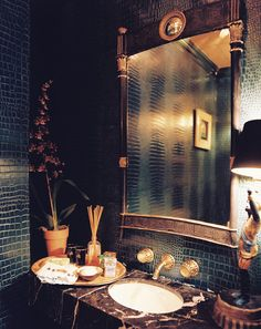 A dark and decadent vanity, designed by Ruthie Sommers.