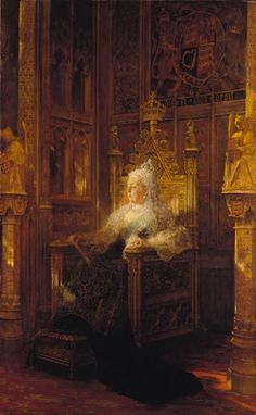Queen Victoria (1819-1901)   Royal Collection Trust --- painting by Jean-Joseph-Benjamin Constant (1845-1902), depicting Queen Victoria in the Lords' chamber in the Palace of Westminster