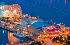 For a classic Ferriswheel experience,go2 the City of the BigShoulders  the wheel @Navy Pier Chicago holds the distinction of being the birthplace of the Ferriswheel, w/ the introduction at the famous 1893 World'sColumbianExposition The modern Navy Pier waterside attraction is 150ft-high w/ 40 gondolas. A ride in the wheel shows vistas of LakeMichigan, the towers of Chi-town  of Illinois. In a town not known for its mild winters, the Ferriswheel operates year-round,conditions permitting