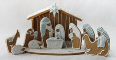Planning on making this to go on top of a Christmas cake. Will be doing sugar cookie cut-outs instead of gingerbread, because no one getting the cake likes gingerbread. Christmas Gingerbread House, Christmas Nativity, Winter Christmas, All Things Christmas, Christmas Cookies, Christmas Crafts, Christmas Decorations, Gingerbread Houses, Gingerbread Cookies