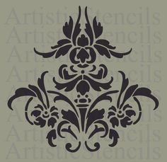 8 Best Images of Free Printable Wall Stencils Damask - Free Damask Stencil Printable Template, French Damask Stencil and Large Wall Damask Stencil Pattern Damask Stencil, Stencil Patterns, Stencil Art, Stencil Designs, Damask Patterns, Damask Tattoo, Fish Stencil, Wallpaper Designs, Tattoo Painting