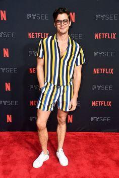 "Antoni Porowski in Sandro at the #NETFLIXFYSEE Event For ""Queer Eye"" at Netflix FYSEE. #antoniporowski #queereye #stripes"