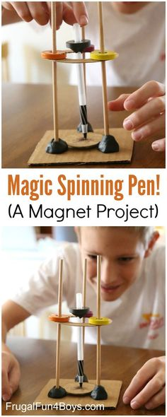 Spinning Pen - Make a pen balance and spin through the power of magnetism! A fun magnet science experiment for kids.Magic Spinning Pen - Make a pen balance and spin through the power of magnetism! A fun magnet science experiment for kids. Magnets Science, Science Activities For Kids, Stem Science, Preschool Science, Science Lessons, Science For Kids, Stem Activities, Kids Magnets, Magnet Science Projects