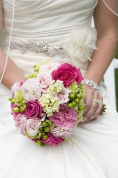 Petite Bridal Bouquet Mid Summer Hot Pinks & Greens