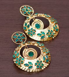 Golden And Green Stone Embellished Sterling Silver Earrings