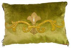 Green Velvet Fleur-de-Lis Pillow on OneKingsLane.com