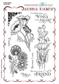 Chocolate Baroque Pretty Poppies Rubber stamp sheet - A5 ideal for card making for all occasions