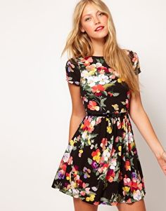 ASOS Skater Dress In Large Floral Print - Add some thick tights and a light cardigan - instant fall fashion!