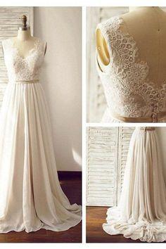 V-neck Sleeveless Open Back Wedding Dress with Lace Sash