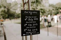 Chalkboard Wedding Love Story Sign | By Sharon Cudworth Photography | Boho Wedding | Outdoors Wedding | Barn Wedding | Wedding Sign | Wedding Decor | Wedding Chalkboard Sign