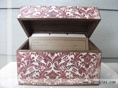 Recipe Box -- Damask Red,White and Brown, Rustic by TwoPinkies, $28.99