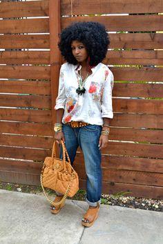 Style Pantry | Floral Tunic + Boyfriend Jeans + Platforms