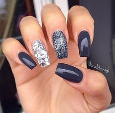 60 Best Stunning Dark Acrylic Nails Design For Prom 2019 - Page 45 of 60 - Diaror Diary - Trendy Nails Acrylic Nail Designs, Nail Art Designs, Nails Design, Best Nail Designs, Dark Nail Designs, Art 33, Dark Acrylic Nails, Dark Nails With Glitter, Dark Gel Nails