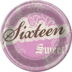 "7-inch dessert plates matching our Sweet Birthday 16th Birthday Party decorations, reading ""Sixteen"" and ""Sweet!"".  Features a popular pink, brown, and ivory color combination"