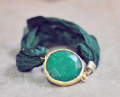 green silk gemstone bracelet