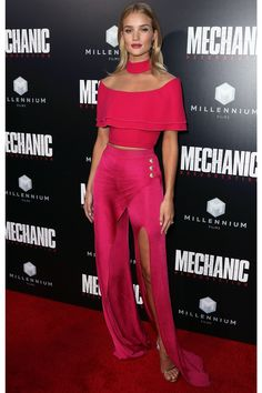 Daily Style Directory: Rosie Huntington-Whiteley in a Balmain hot pink off-the-shoulder top and trousers