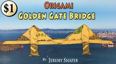 Origami One Dollar Golden Gate Bridge: [Low Intermediate] How to fold a Golden Gate Bridge from a single dollar bill or any  3X7 rectangle.  Skip to the end for clips of my unicycle ride over the Golden Gate Bridge.  How do you make 3X7 rectangle from a square? I show how here: https://youtu.be/_YlVUNBW5TM To make a Dollar Convertible Car to go with the bridge click here: https://youtu.be/U6cZ0NyiBP8 The idea to film myself unicycling on the Golden Gate Bridge for the intro was given to me…