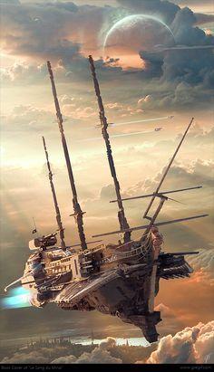 - Rhubarbes: Book Cover for: Le Sang du Mirial ~ Steampunk Airship - Steampunk Kunst, Steampunk Airship, Dieselpunk, Steampunk Artwork, Arte Sci Fi, Sci Fi Art, Sci Fi Fantasy, Fantasy World, Fantasy Dragon