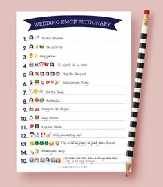 A fun twist on traditional pictionary, guests must correctly decipher the wedding words and phrases using EMOJIS :) I came up with this game for my sisters bridal shower and Im sure your guests will love it as much as ours did! Quick and easy shower game that is sure to be a hit! This listing is for digital download. The print ready file is available immediately after purchase for you to print as many copies as you need then trim to size. The file is set up to print 2 games per 8.5x11 sheet…