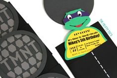 Teenage Mutant Ninja Turtles Einladungen TMNT von TheCraftyTees