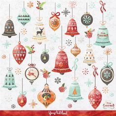 Vintage Christmas Ornaments Clipart. Christmas by Graphikcliparts ...