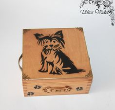 Exclusive tea box, tea, tea bag, box, wood,Yorkshire terrier, Yorkshire-Terrier