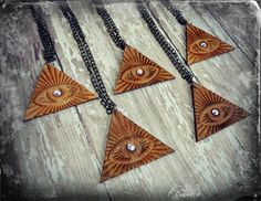 Natural Wood & Crystal All Seeing Eye Triangle New Age Etched Necklace Oddity boho urban antique illuminati