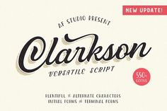 Introducing Clarkson Script --- Brand new stylish versatile fonts ! In collaborating with Albion Room. Fresh from the oven as inspired to create easy digital lettering for you. Cursive Fonts, Calligraphy Fonts, Typography Fonts, Poster Fonts, Typography Alphabet, Typeface Font, Handwriting Fonts, Posters, Business Brochure