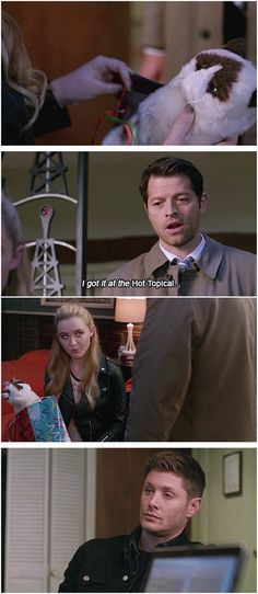 Castiel being adorable.<<I wonder if he got her the Grumpy Cat plushie because it reminded him of her.