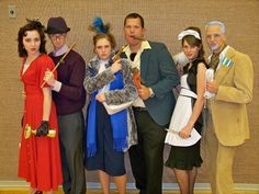 Clue!! Ms. Scarlett, Professor Plum, Mrs. Peacock, Mr. Green, Ms. White, and Colonel Mustard. love it