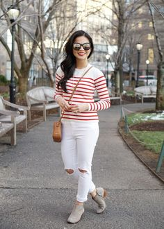 Skirt The Rules / Red & White Striped Sweater