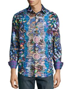 Embroidered Multi-Print Sport Shirt, Multicolor by Robert Graham at Neiman Marcus.